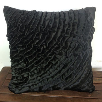 Black ruffles throw pillow 18x18-black cushion cover-ruffles decorative pillow