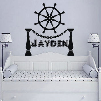 Wall Decals Personalized Name Vinyl Stickers Helm Boy Nautical Nursery Art LM113