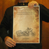 Suzuki VZR 1800, 2011-Original drawing print , You dont stop riding because youre getting old, but you get old..., 11.5x16 in