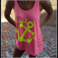 Anchor This Flowy Neon TAnk Top. Womens Fitness Tank Top. Work Out Tank Tops. Womens Crossfit Tank. Fitness Tank Workout Tank.