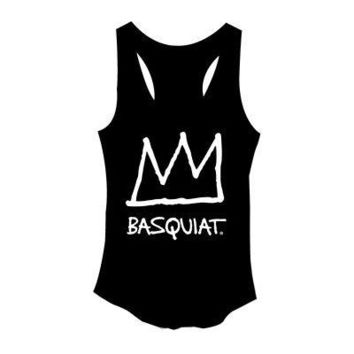 Jean-Michel Basquiat Crown Logo Licensed Women's Junior Tank Top - Black
