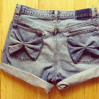 High Waisted Denim Bow Shorts