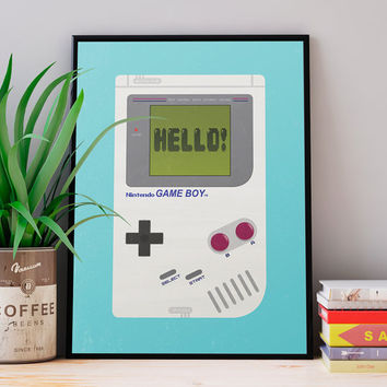 Video game poster, Gameboy print, Geek print, Vintage poster, Retro poster, Nursery print, Playroom art, Consoles print, Kid's room art