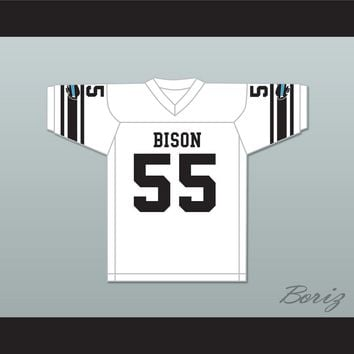 Roy Chutney 55 Blue Springs Bison High School White Football Jersey The Slaughter Rule
