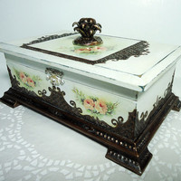 Antique Jewelry Box / Victorian Style Trinkets Box / Distressed Box / Hand Decorated and Decoupaged by Elena Joliefleur