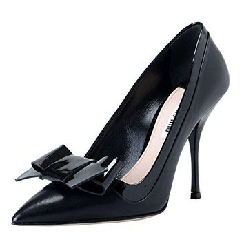 Miu Miu Women's Black Leather High Heel Pointy Toe Pumps Shoes US 6 IT 36