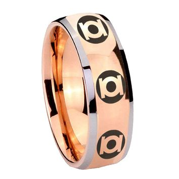 8MM Rose Gold Dome Multiple Green Lantern 2 Tone Tungsten Carbide Laser Engraved Ring