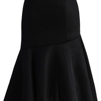 Frill Hem Honeycomb Mesh Skirt in Black