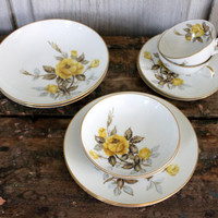 "vintage 10pc set of ""georgianna"" china by sango japan // yellow roses // 1960s"