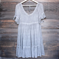 darling babydoll dress with ruffle hem - charcoal