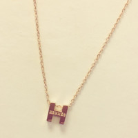 Hermes golden thin clavicle chain necklace