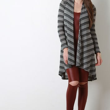 Stripe Detailed Thermal High Low Cardigan