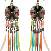 So 1960's Hippie Chic Feather Drop Earrings