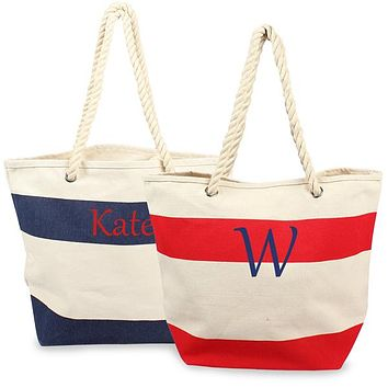 Personalized Red Striped Canvas Tote Bag w/ Rope Handles