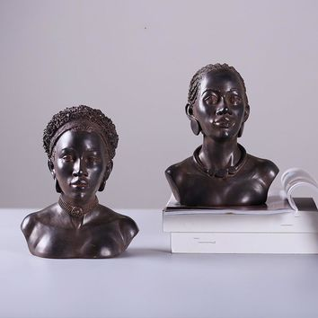 Gift The Length Of Hair Of African American Country Rust Colored Lady Bust Decoration Art Decoration Vintage Home Decor