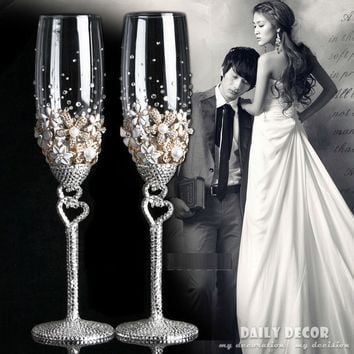Lead-free crystal glass rhinestone bride and groom champagne wine cup