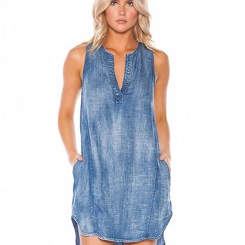 Bella Dahl Sleeveless Seams Dress in Weathered Wash | Boutique To You