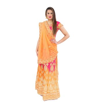 Tangerine Pink with Gold Embroidered Lehenga