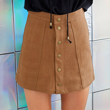 Suede Patchwork Button A-line Mini Skirt