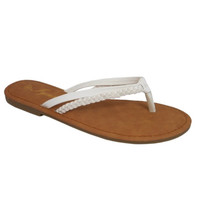 Forever Faithful Classic Dual Strap White Flip Flops, Sandals