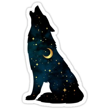 'Wolf Silhouette with Stars and Moon' Sticker by MagneticMama