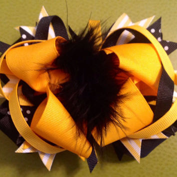 Hair bow Sale 40% off gift cheerleader stacked OTT accessory marabou puff blossom  barrette headband clip looped yellow black spiked