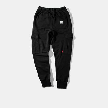 High quality warm thick black mens bottoms baggy jogger pants skate rap rapper chic swagger hiphop trousers pockets urban cotton