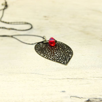 Autumn Leaf pendant necklace. Fire opal filigree fire opal fashion jewelry