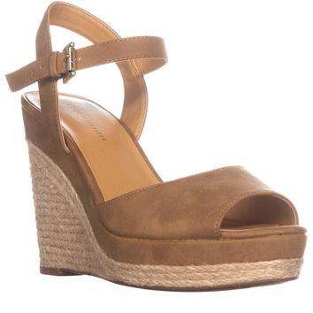 Tommy Hilfiger Kali Peep Toe Wedge Sandals, Medium Brown, 10 US