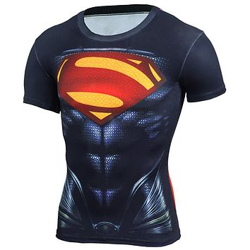 New 2018 3D Compression Shirt Fitness Men Superhero
