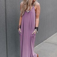 Perfection Pocket Maxi Dress - Dark Mauve