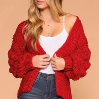 Winter Wonder Red Cable Knit Cardigan