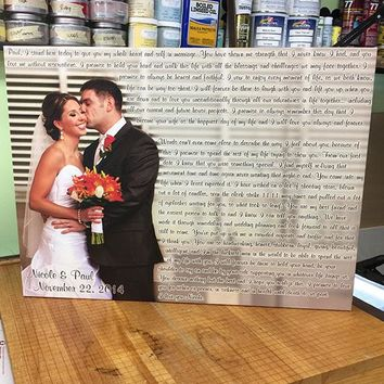 Anniversary Wedding Vows / His and Her Vows / One of a Kind Design Canvas Print