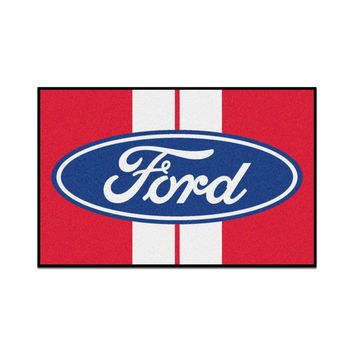 FANMATS Ford - Ford Oval with Stripes Starter Rug Mat - Red