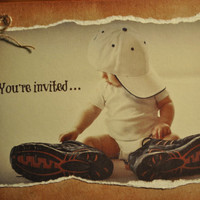 1st Birthday Party Invitations for baby boy - Handmade - with personalization option