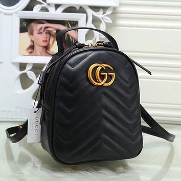 GUCCI Women Fashion Leather Backpack Daypack Bookbag