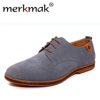 New 2017 Fashion Men Shoes Suede Leather Casual Flat Shoes Lace-up Men's Flats for Man Rubber Outsole Driving Shoes Footwear