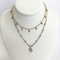 Keep It Classy Grey Layered Necklace in Gold