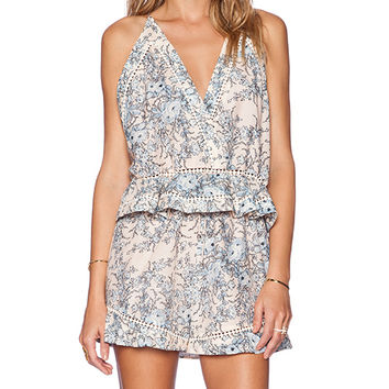 Zimmermann Porcelain Flounce Playsuit in Blue