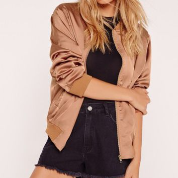 Missguided - Petite Exclusive Satin Bomber Jacket Rose Gold