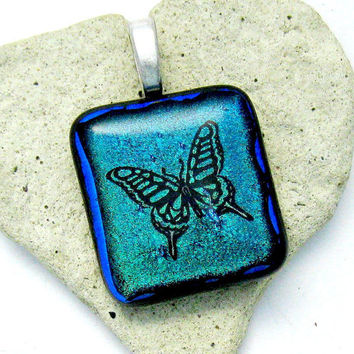 Fused Dichroic Glass Pendant - Fluttering  Butterfly Pendant