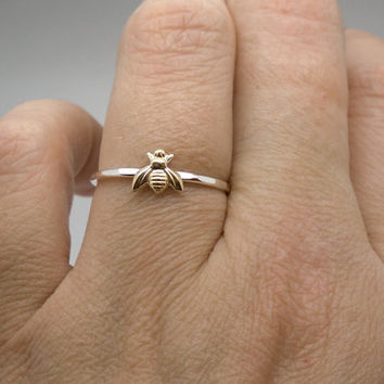 Tiny gold bee ring in sterling silver and brass, stacking ring, knuckle ring, midi ring