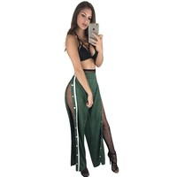 Loose-Fitting High Waist Pants with Open Sides