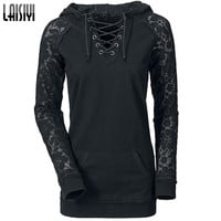 Laisiyi 2016 Autumn Pullovers Casual Hoodies Women Lace Patchwork Drawstring Black Sweatshirt Sexy Ladies clothing HO1093