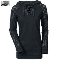 Laisiyi Free Shipping 2016 European American Hoodies Women Lace Patchwork Drawstring Black Sweatshirt HO1093