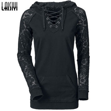 LAISIYI 2017 Autumn Pullovers Casual Hoodies Women Lace Patchwork Drawstring Black Sweatshirt Sexy Ladies clothing HO1093