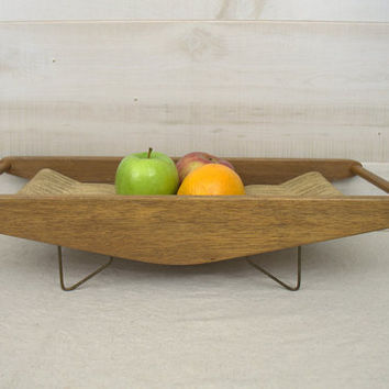 Primitive Fruit Hammock, Mid Century Fruit Bowl, Modern Fruit Hammock, Unusual Woven Fruit Bowl, Modern Fruit Bowl,