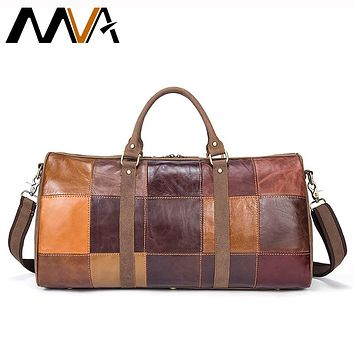 MVA Genuine Leather Suitcase and Travel Bags Large Big Patchwork Men Travel Bags Leather Carry On Luggage Casual Duffle Bag 1099
