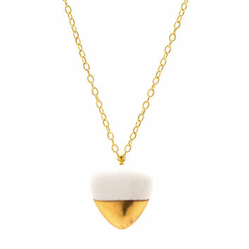 Gold Dipped Pebble Necklace