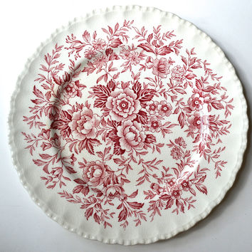 Red Floral Chintz Toile Roses Daisies Blue Bells Vintage English Transferware Plate